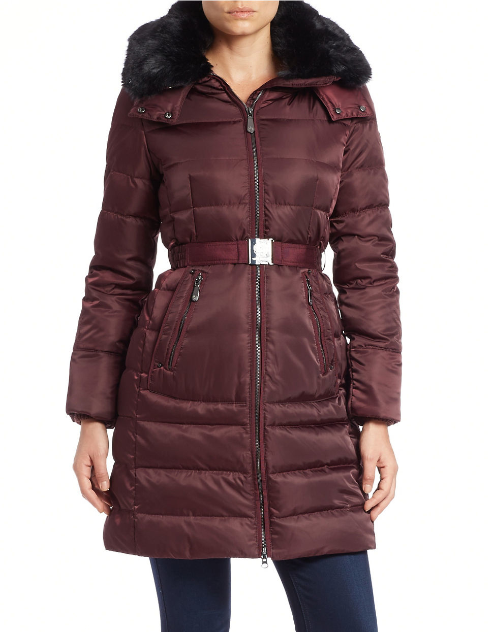 Vince Camuto Convertible Faux Fur Trimmed Quilted Coat In
