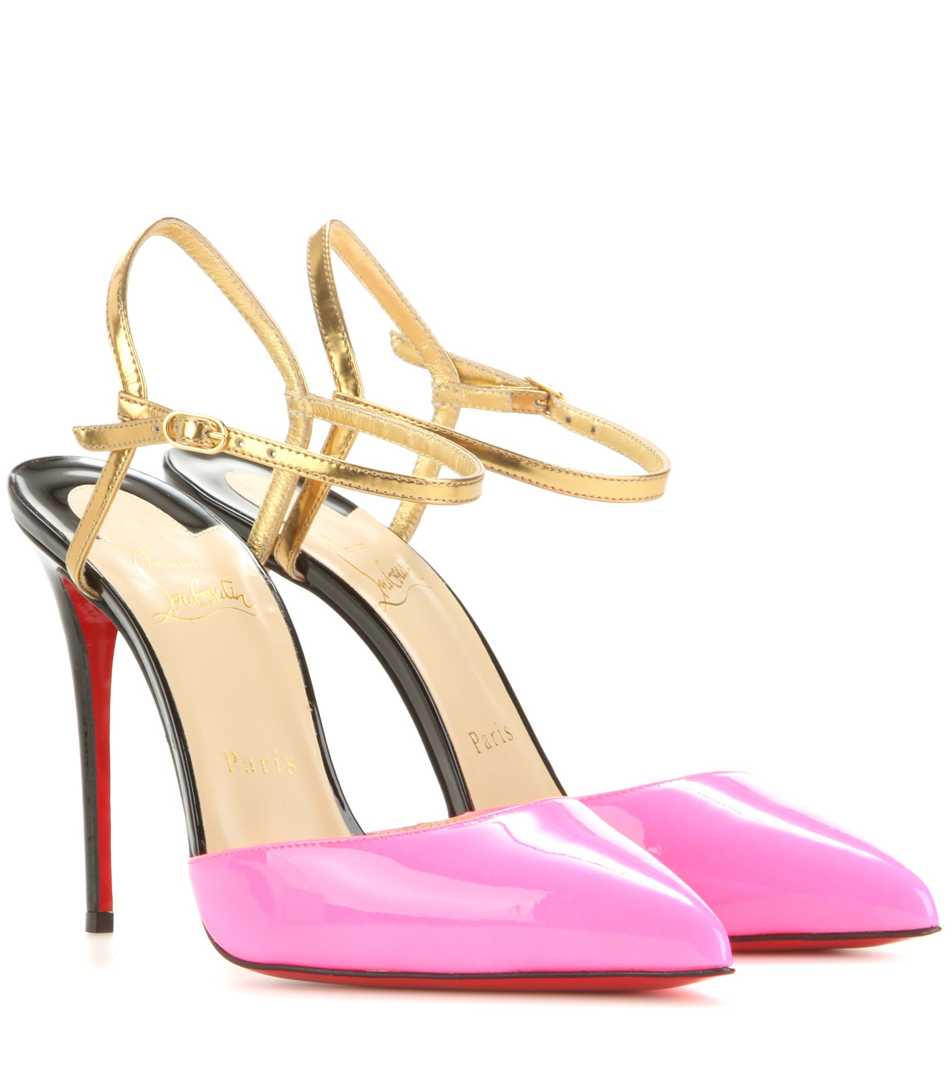 louboutin knockoffs - christian louboutin sandals Gold-tone patent leather covered heels ...
