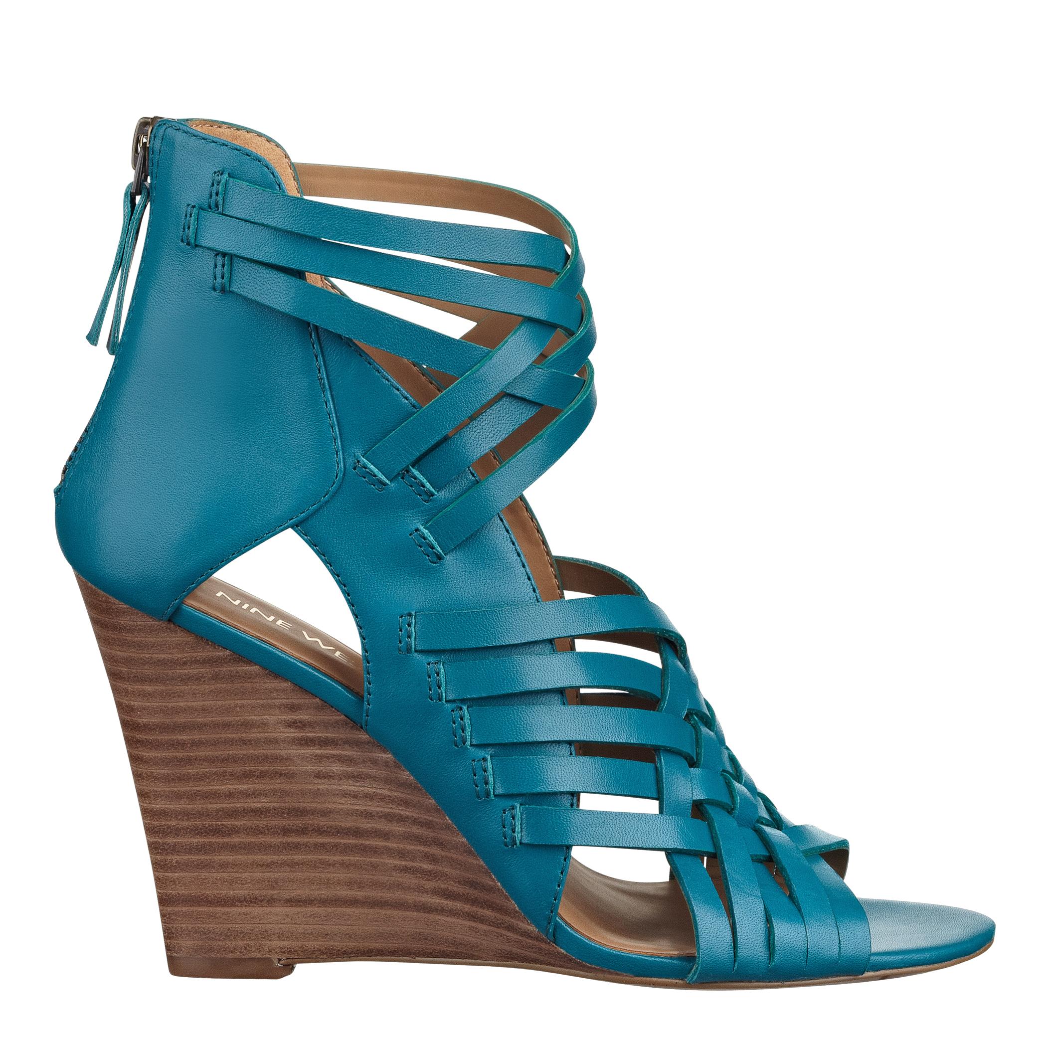 581c26667adf Lyst - Nine West Mexicali Peep Toe Wedge in Blue