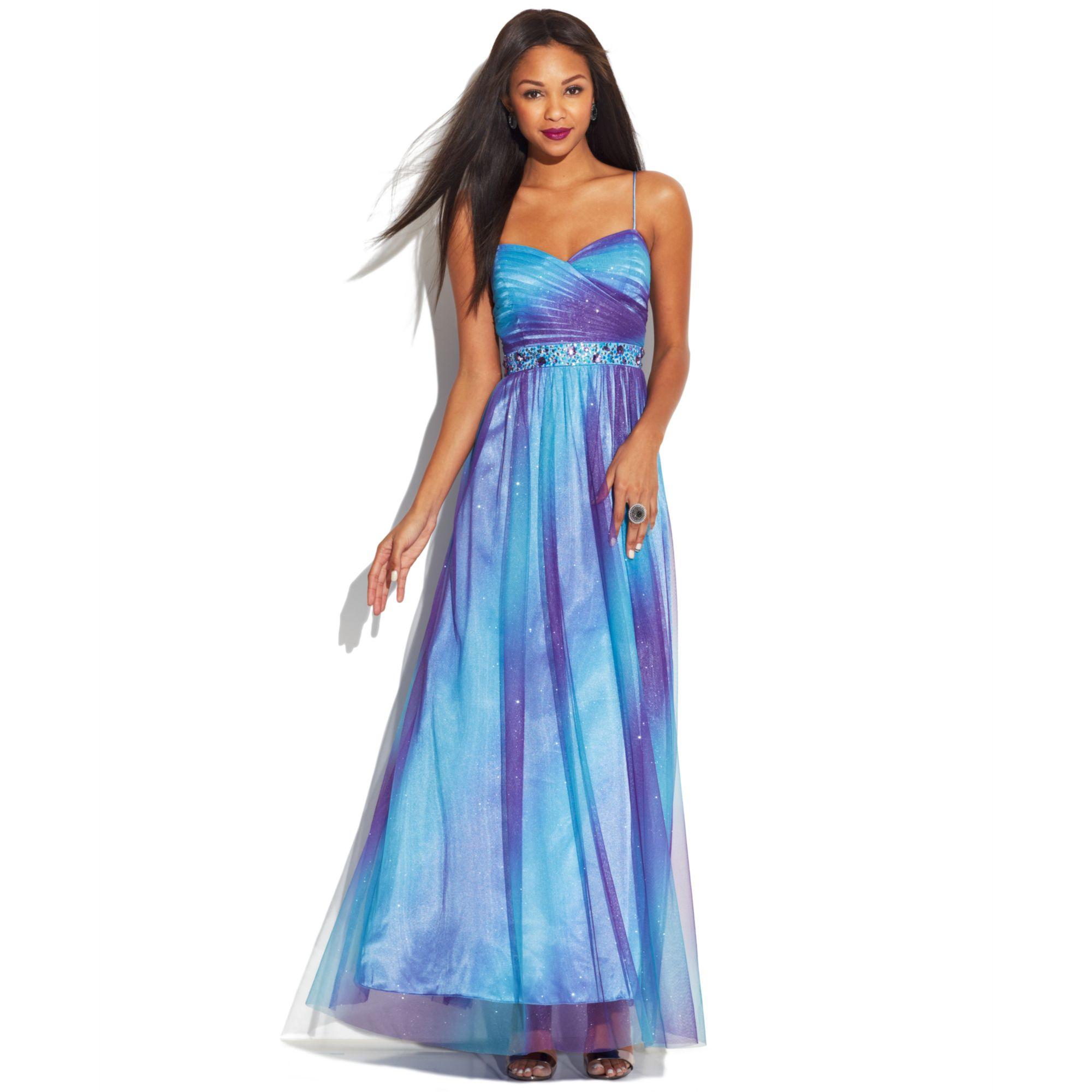 Lyst - Jump Juniors Sleeveless Ombre Glitter Dress in Blue