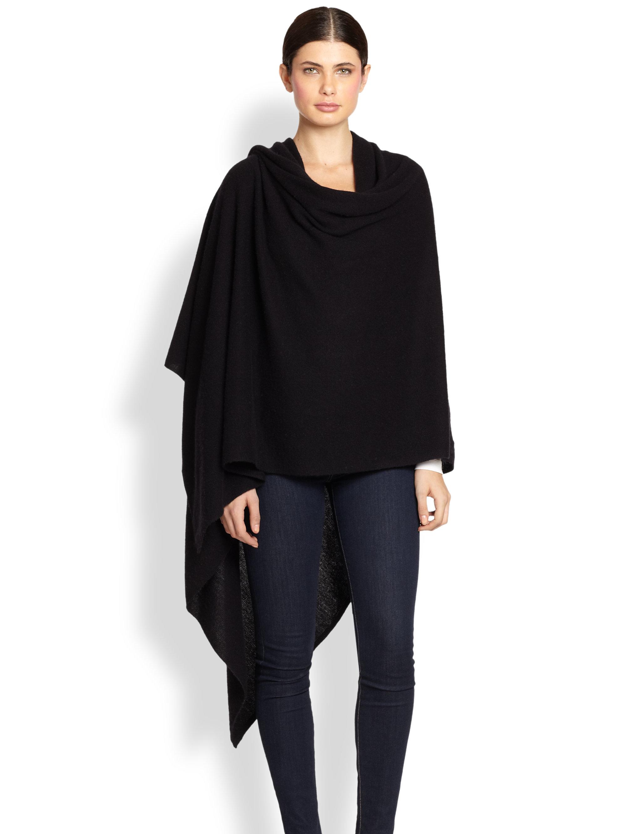 White + warren Cashmere Travel Wrap in Black | Lyst