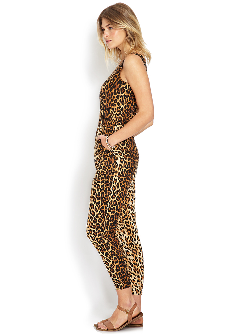 Lyst Forever 21 Leopard Love Jumpsuit