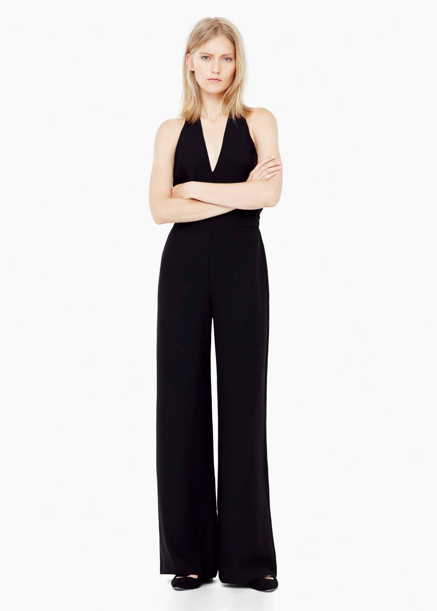 Innovative Mango Halter Long Jumpsuit In Black  Lyst