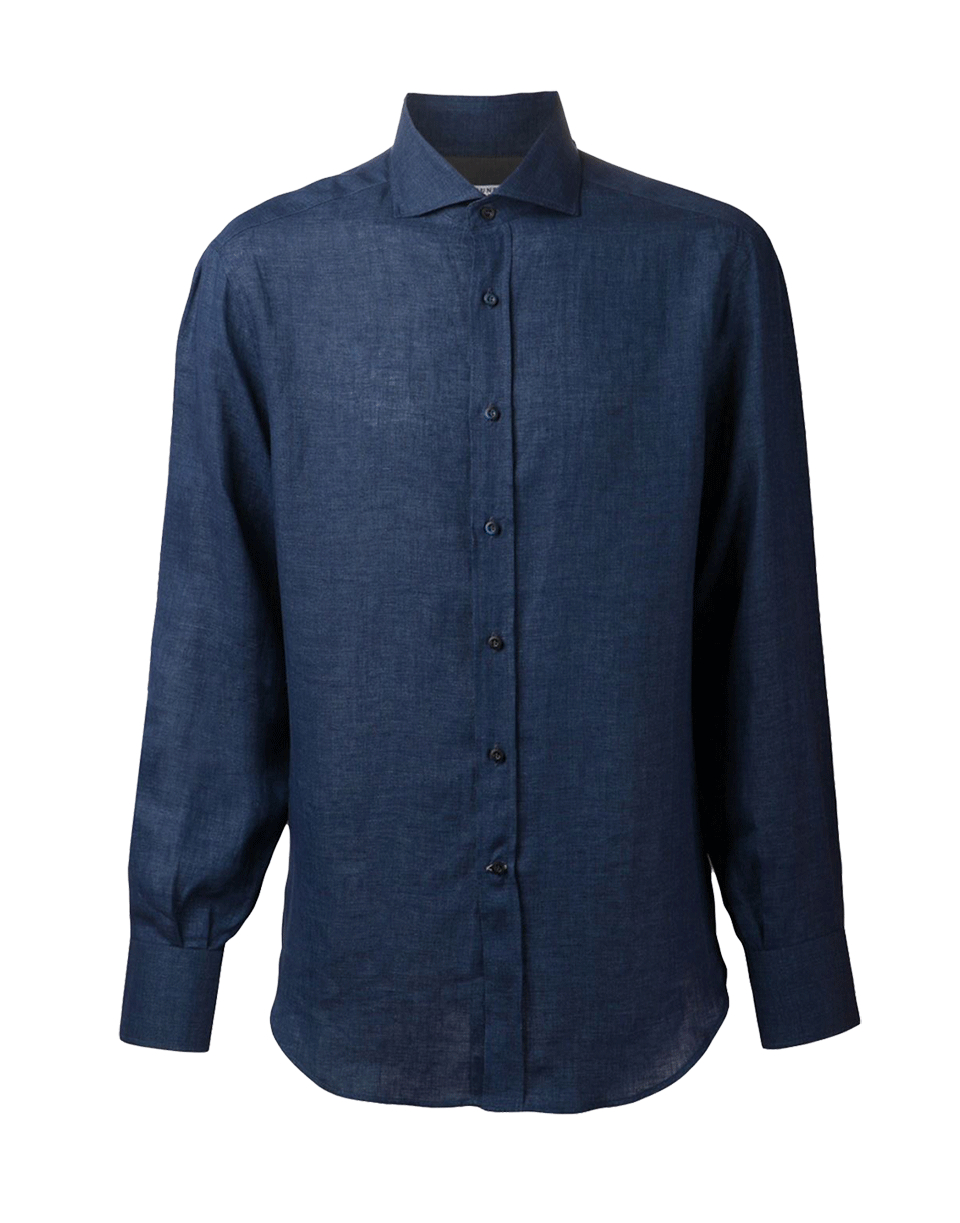 Brunello cucinelli spread collar linen shirt in blue for for Men s spread collar shirts