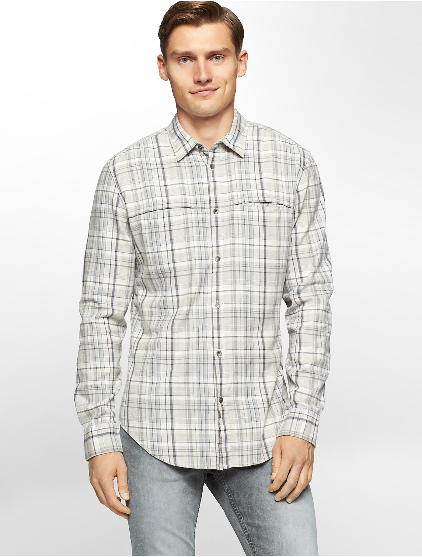 Calvin Klein Jeans Slim Fit Brushed Twill Plaid Shirt In