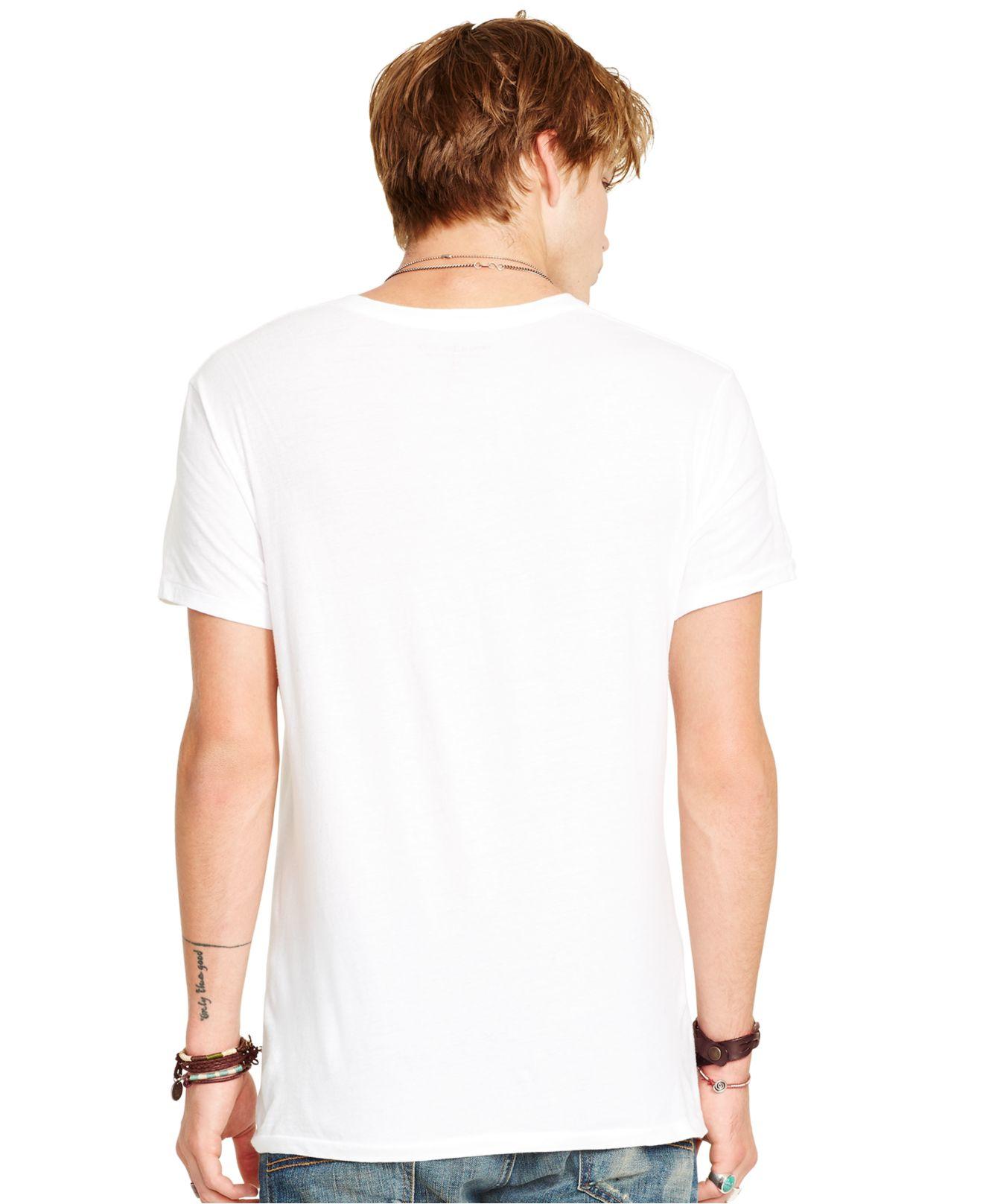 Lyst denim supply ralph lauren jersey v neck t shirt for White t shirt v neck