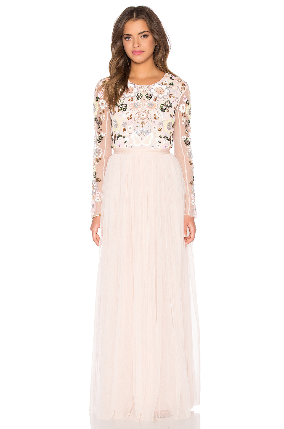94053b7f0397 Needle & Thread Floral Cluster Embellished Gown in Pink - Lyst