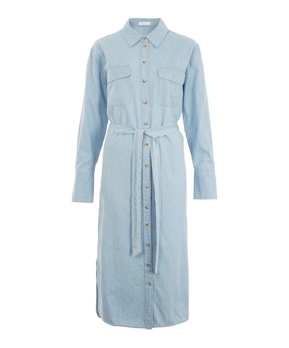 Lyst Equipment Light Blue Denim Tie Waist Delany Shirt
