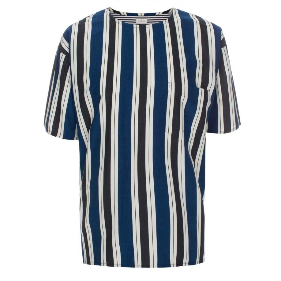 Paul smith men 39 s oversized blue vertical stripe cotton for Blue striped shirt mens
