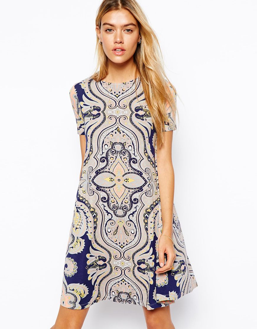 Lyst Asos Swing Dress With Short Sleeves In Paisley Print