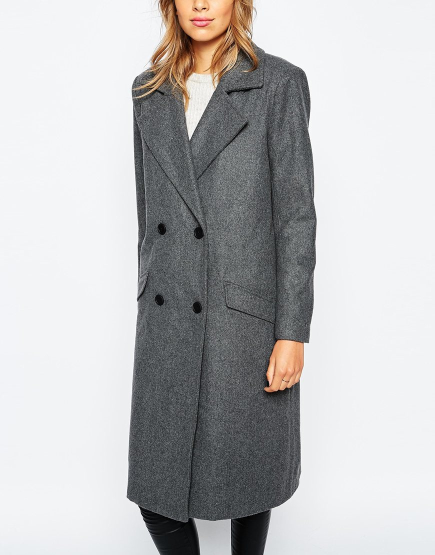 Vila Car Coat in Gray | Lyst