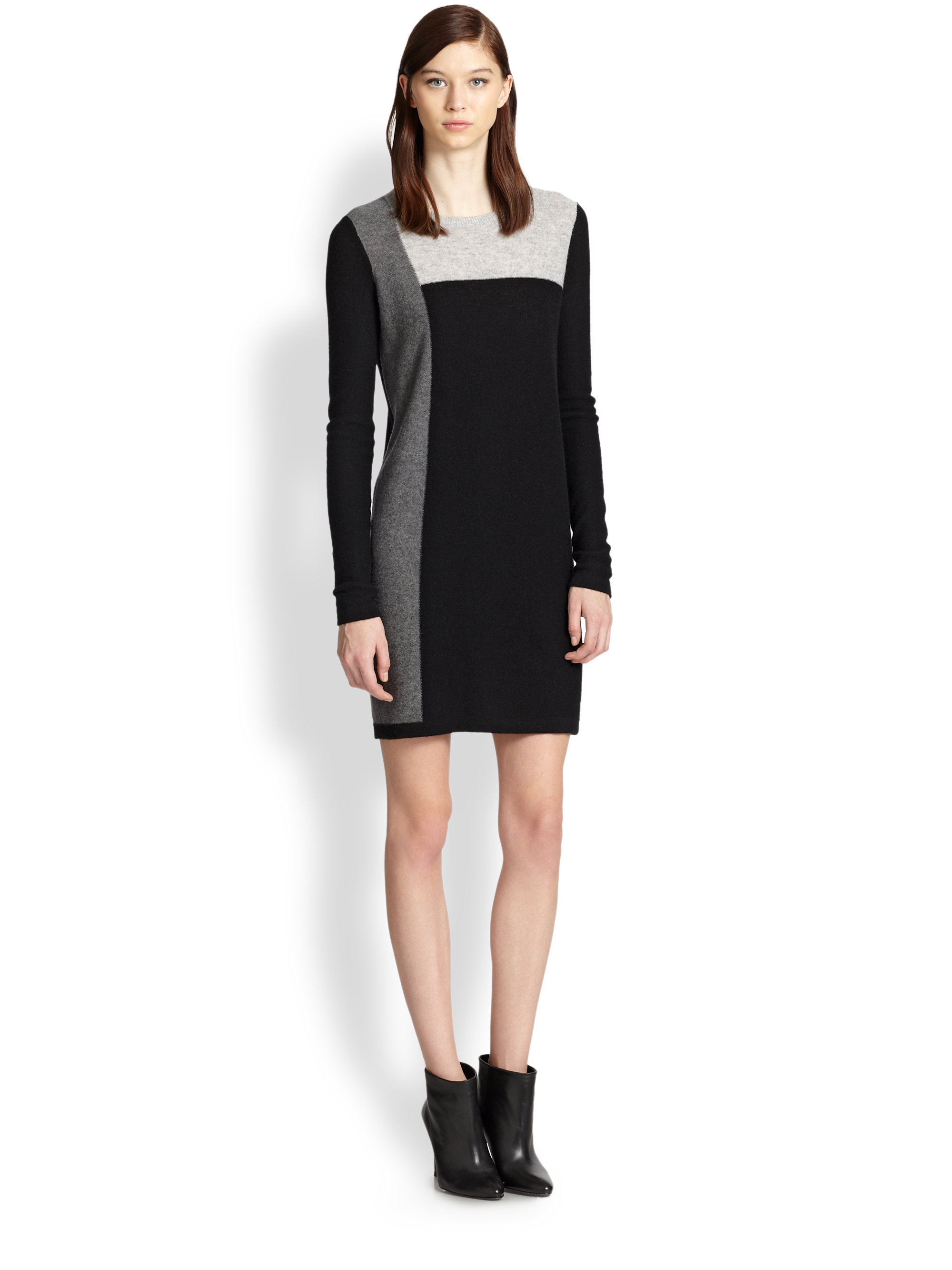 Vince Cashmere Colorblock Sweater Dress in Black | Lyst