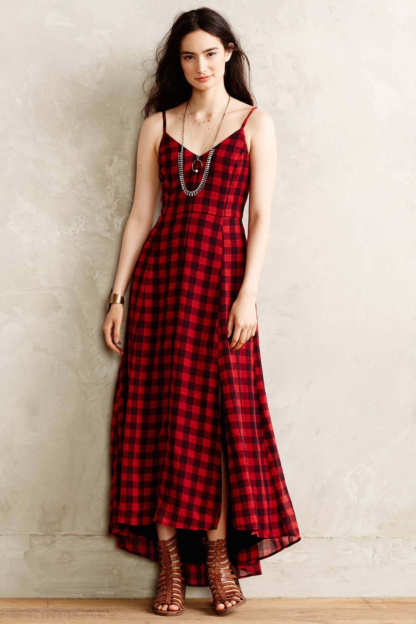 Anthropologie Genny Gingham Dress In Red Red Motif Lyst