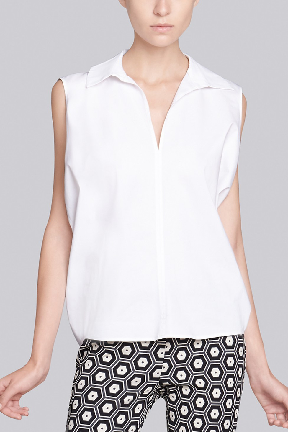 Natori Cotton Shirting Sleeveless Collar Shirt In White Lyst