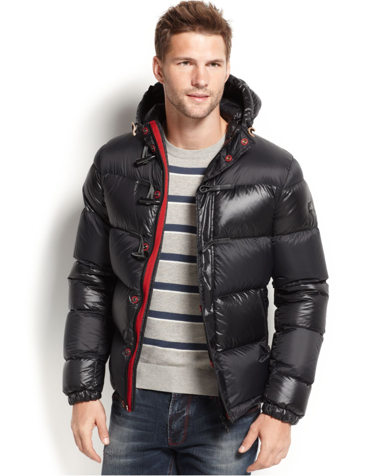 lyst armani jeans puffer jacket in black for men. Black Bedroom Furniture Sets. Home Design Ideas