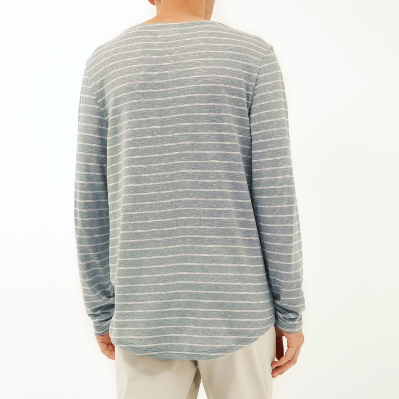 Lyst river island grey stripe curved hem t shirt t shirt Grey striped t shirt
