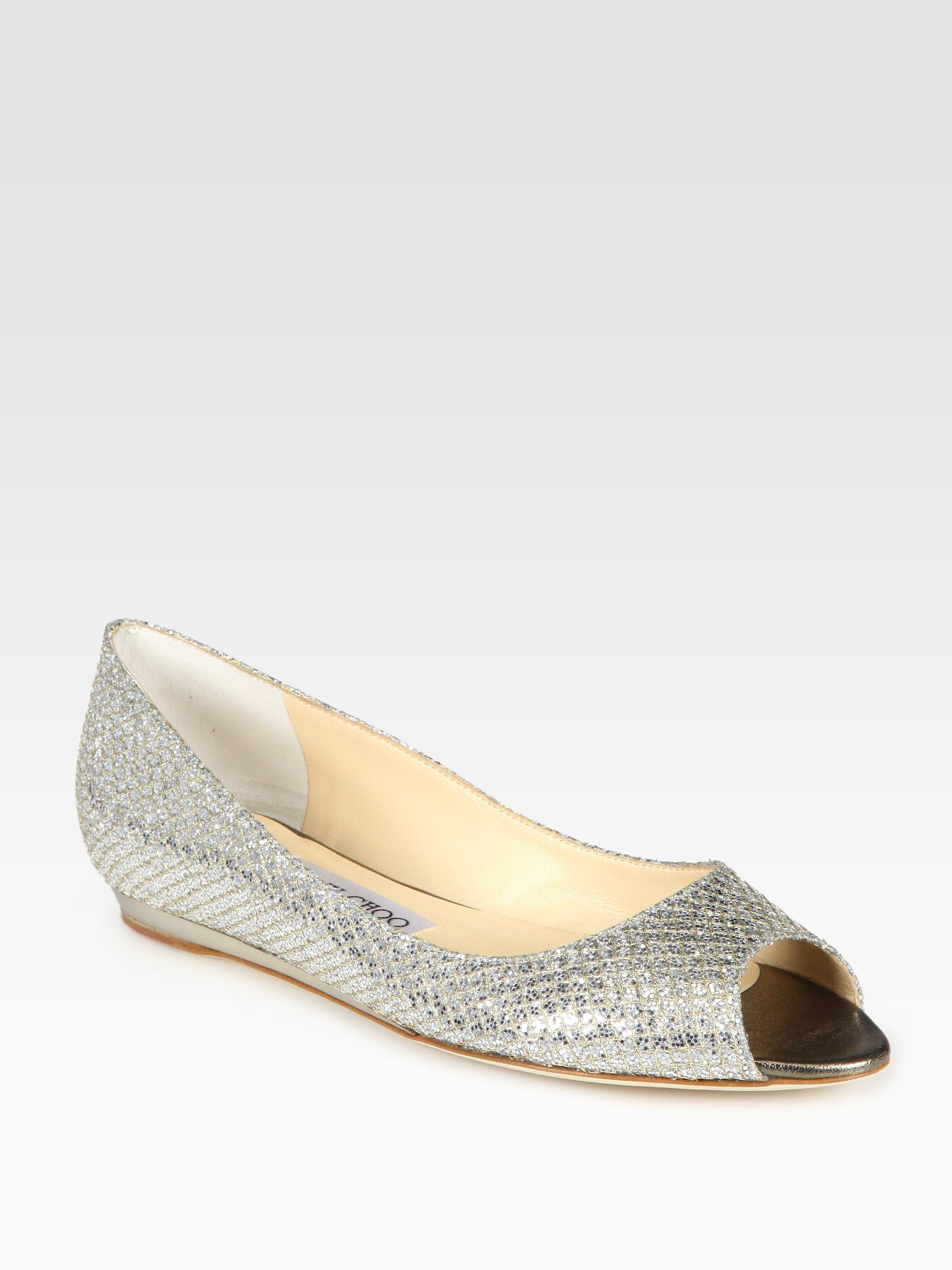 7b93cbea7d6e Jimmy Choo Beck Glitter-coated Metallic Leather Peep Toe Ballet ...