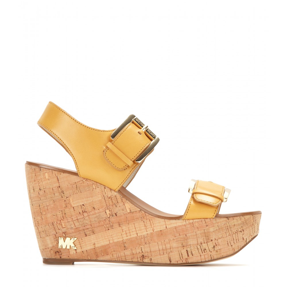 michael michael kors warren wedge sandals in brown lyst