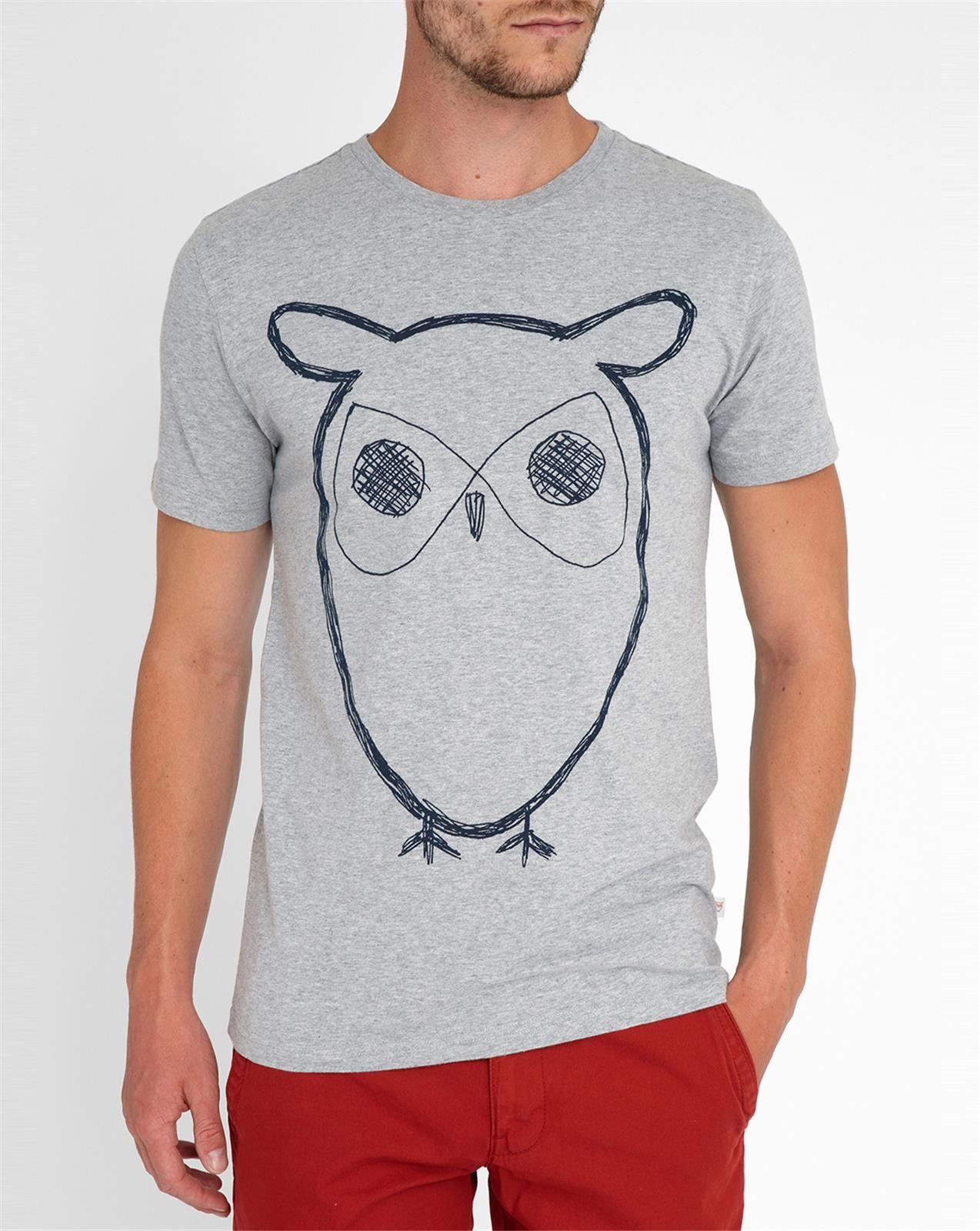 knowledge cotton apparel grey owl logo short sleeve t shirt in gray for men lyst. Black Bedroom Furniture Sets. Home Design Ideas