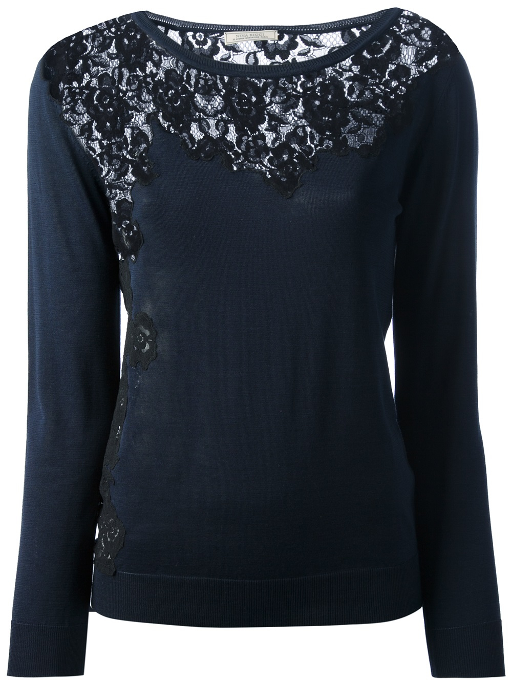 Nina ricci Lace Panel Sweater in Blue | Lyst