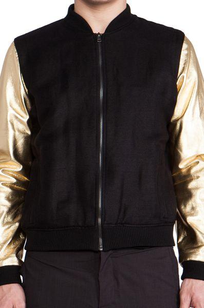 Chapter Maro Bomber Jacket In Black For Men (Black U0026 Gold) | Lyst