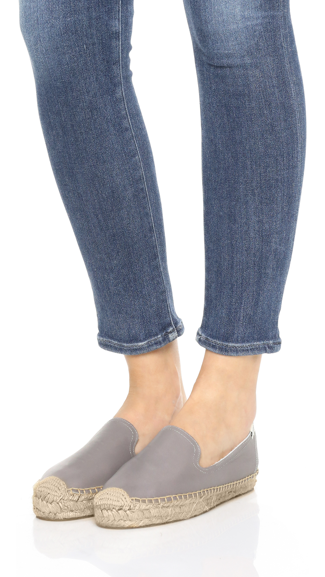 2ed6a8a94414 Lyst - Soludos Platform Leather Smoking Slippers in Gray