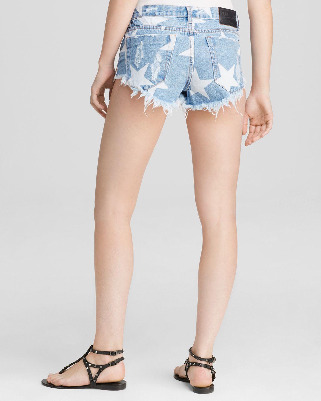 one teaspoon bonita star print shorts in blue lyst. Black Bedroom Furniture Sets. Home Design Ideas