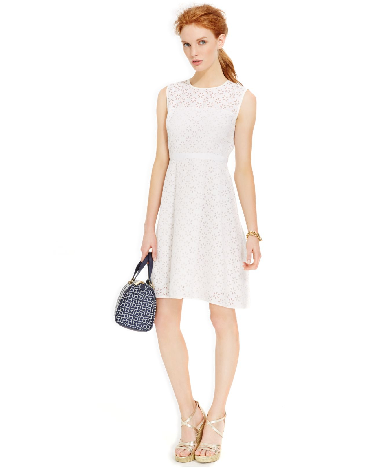 878b6d44 Tommy Hilfiger A-Line Eyelet Dress in White - Lyst