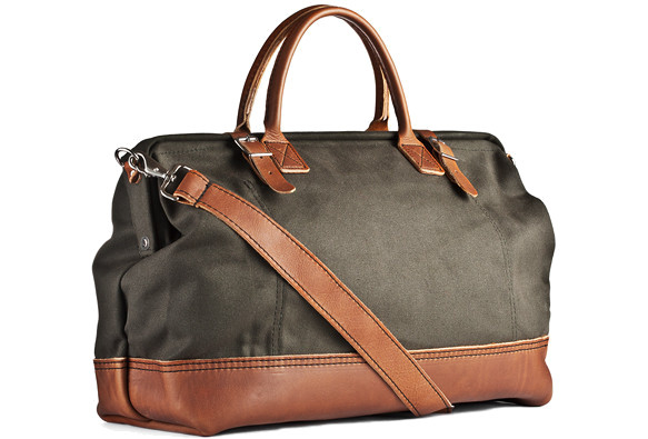 This liter bag is made from a heavy canvas and features 2″ cotton webbing that's reinforced with leather. And, though it seems rather large, it still meets most airline requirements for a carry on, so you shouldn't have any trouble hopping a plane with this weekender.