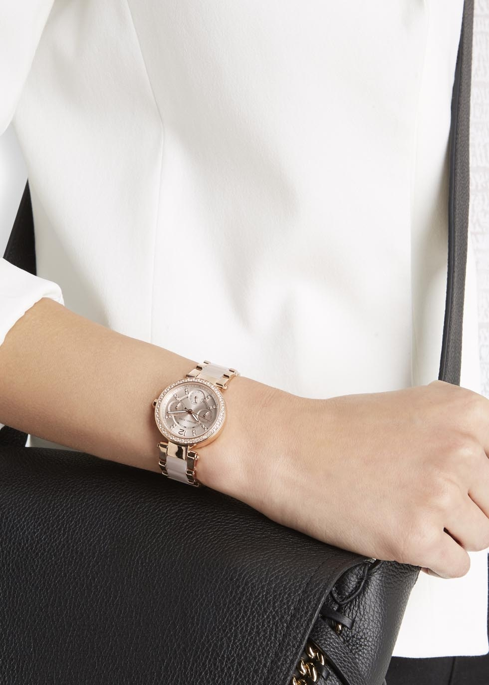 acb2f2b53b68 Michael Kors Mini Parker Rose Gold-tone Chronograph Watch in Pink - Lyst
