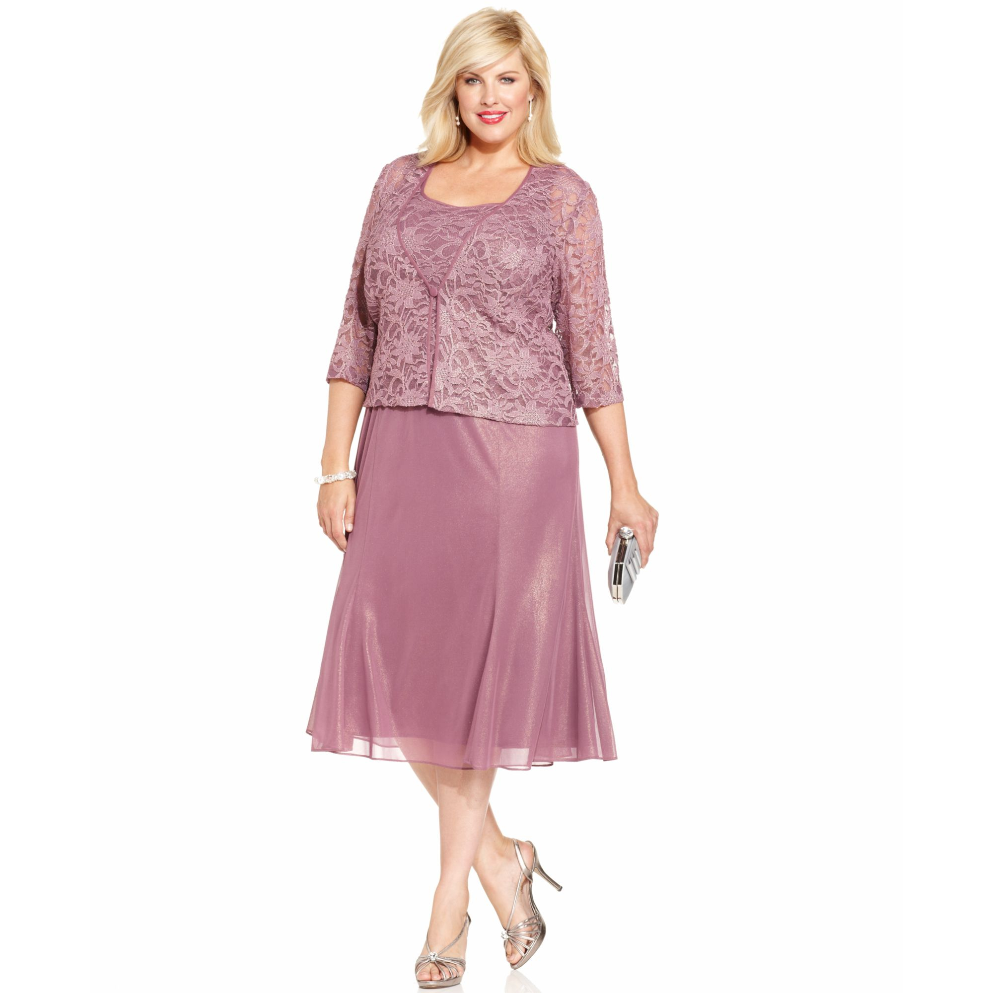 750bbaebdd6d3 Lyst - Alex Evenings Plus Size Shimmer Lace Dress and Jacket in Pink