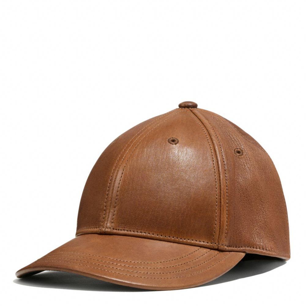 fd4c4cbf4c452 COACH Leather Baseball Cap in Brown for Men - Lyst