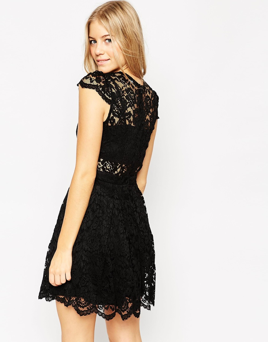 Lyst - Asos Lace Mini Prom With Bra Top in Black
