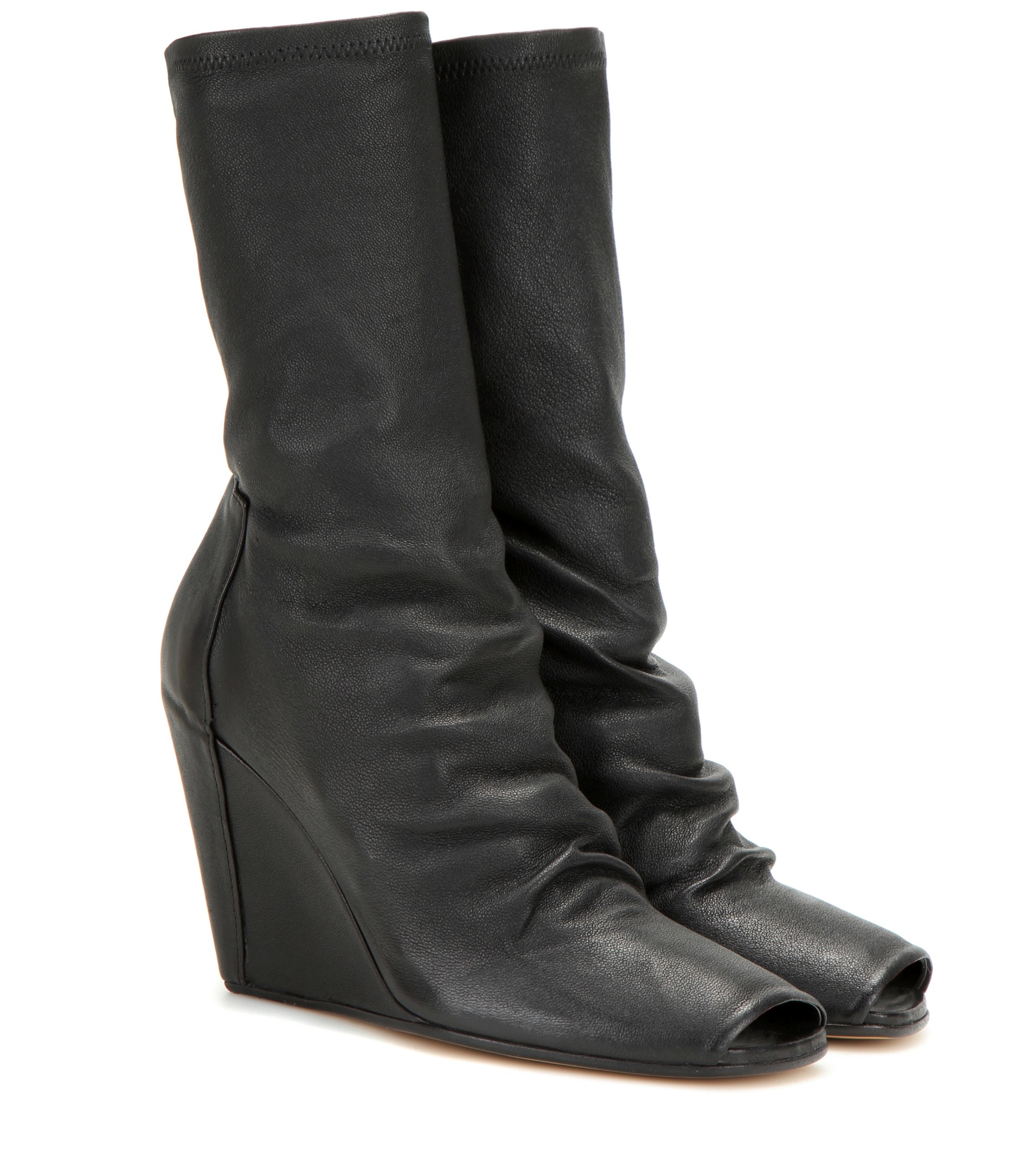 Rick Owens Open Toe Wedge 80 Leather boots PPzWFSU