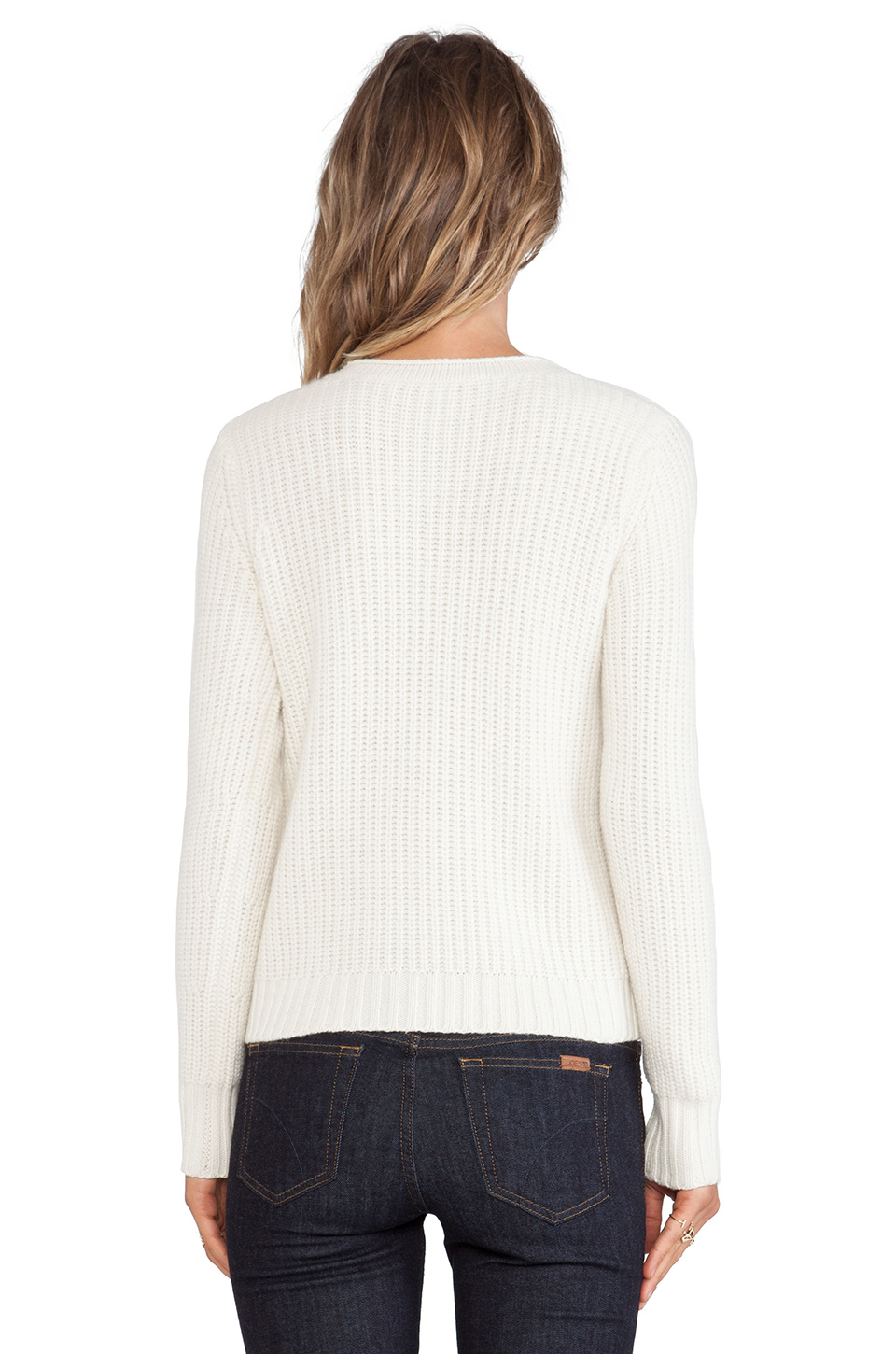 autumn cashmere shaker stitch sweater in white