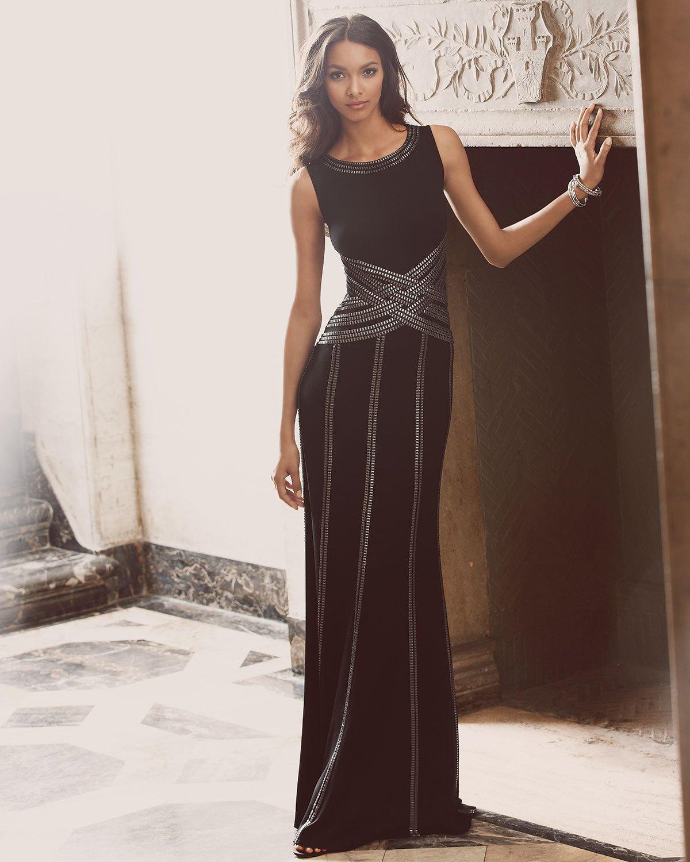 Lyst - Tadashi Shoji Sleeveless Gown With Ribbon Striping in Black