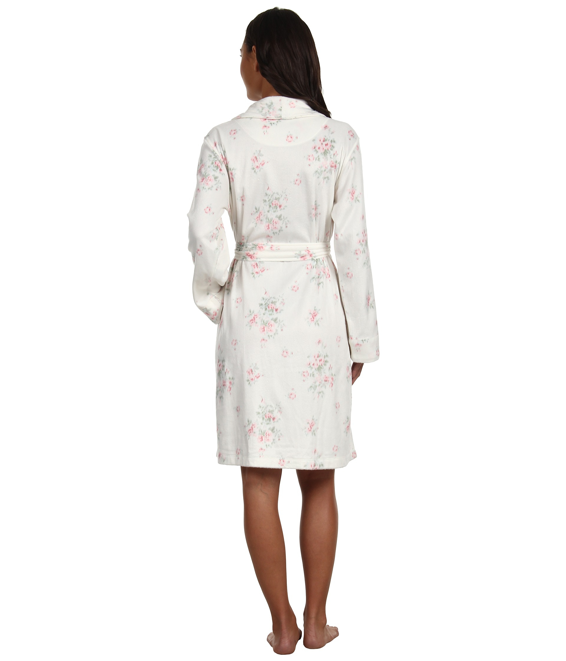 lauren by ralph lauren dangerous liaisons short shawl collar robe in white lyst. Black Bedroom Furniture Sets. Home Design Ideas