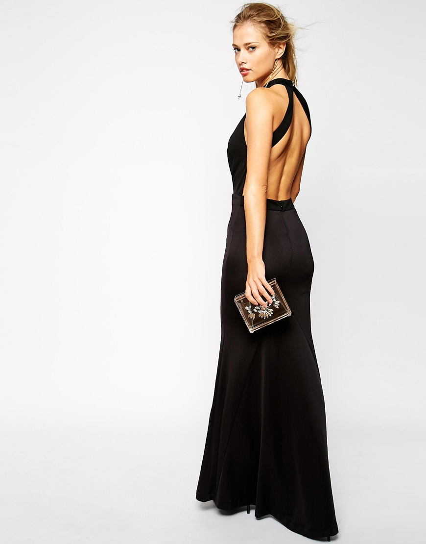 Jarlo Jolie High Neck Maxi Dress With Open Plunge Detail in Black ...