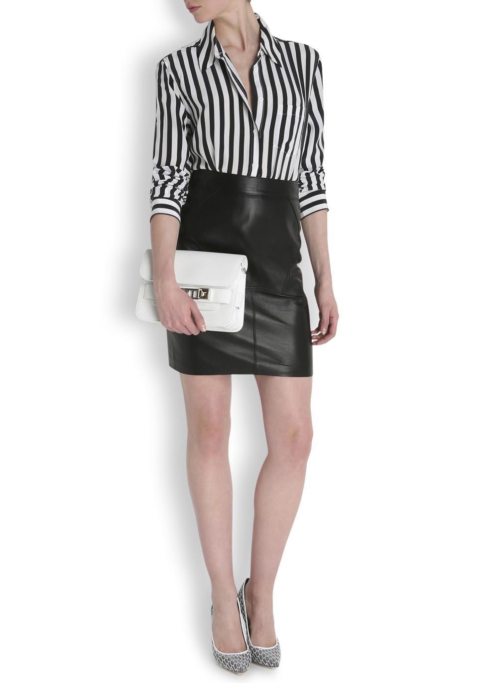 Lyst equipment reese black and white striped silk blouse for Equipment black silk shirt
