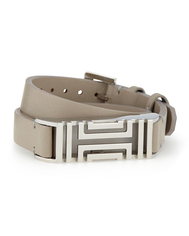 Tory Burch Fitbit Case Double Wrap Bracelet In Gray Lyst