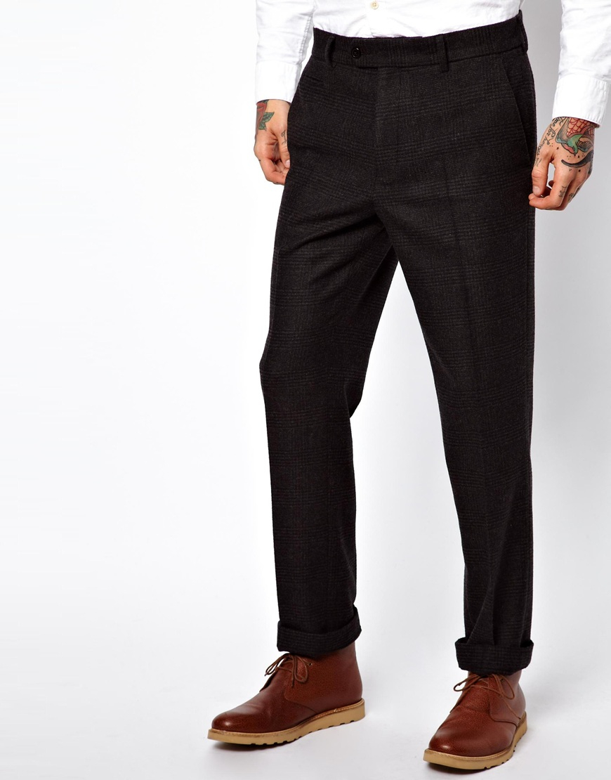 Asos slim fit trouser in flannel in black for men for Women s slim fit flannel shirt