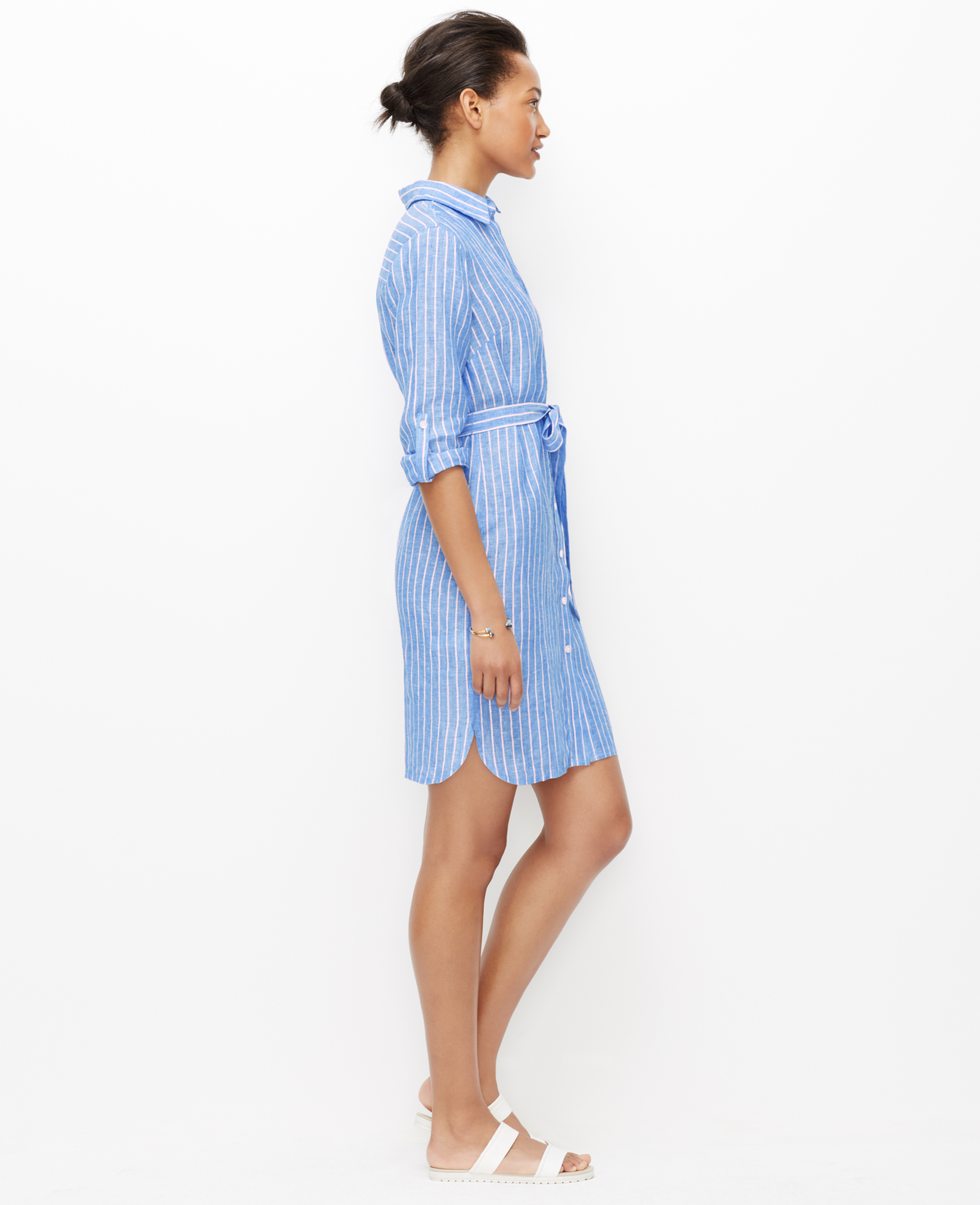 Lyst Ann Taylor Striped Linen Shirtdress In Blue