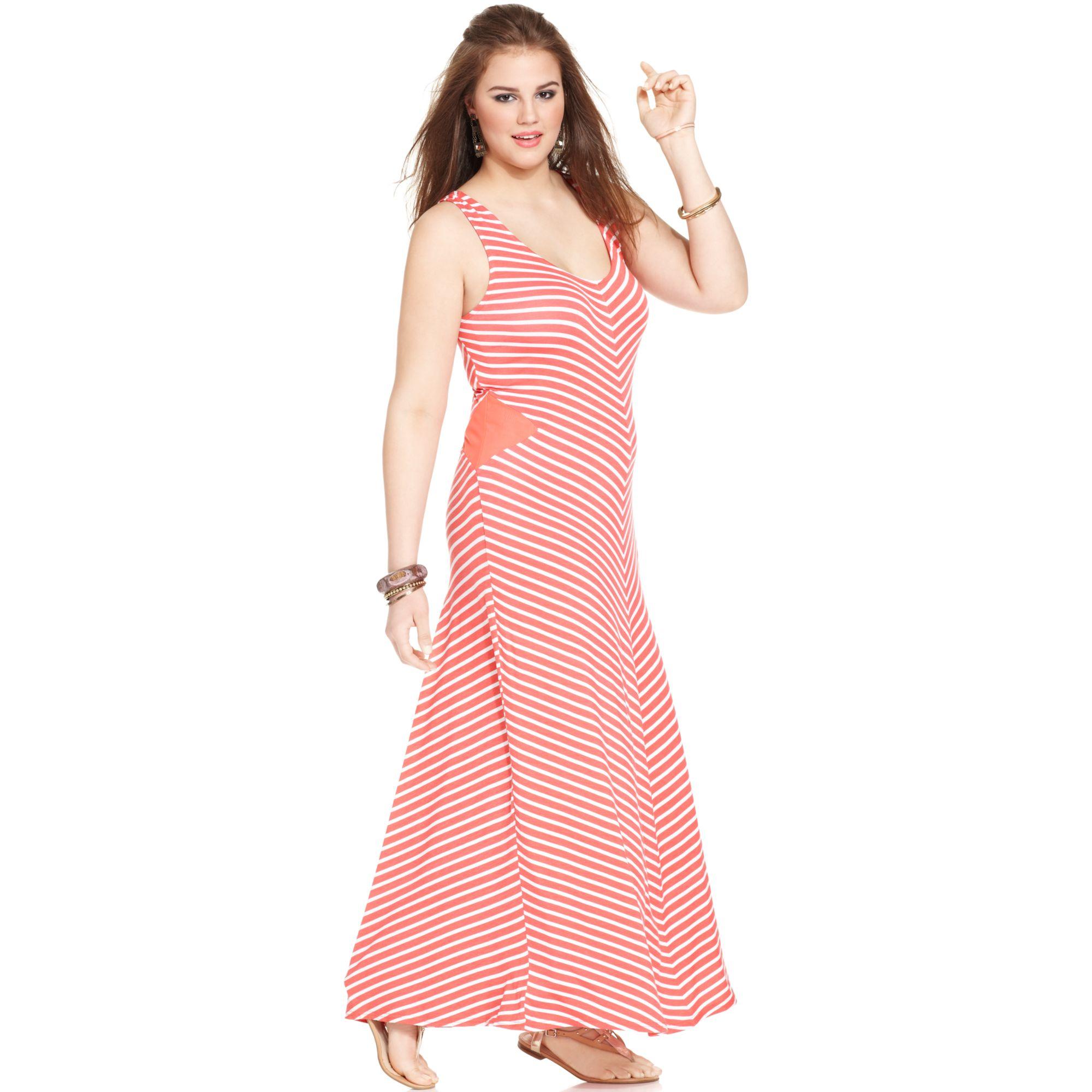 American Rag Plus Size Chevron Maxi Dress in Pink ...