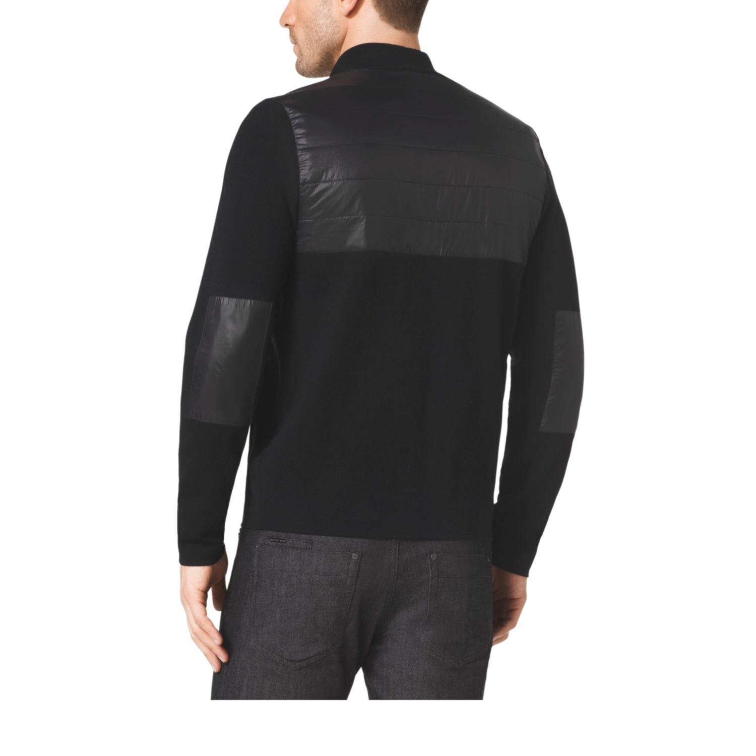 michael kors quilted nylon and wool half zip pullover in black for men lyst. Black Bedroom Furniture Sets. Home Design Ideas