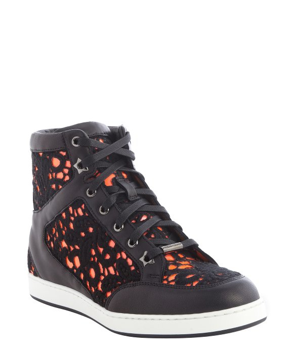 Jimmy choo Black And Neon Flame Leather And Embroidered ...