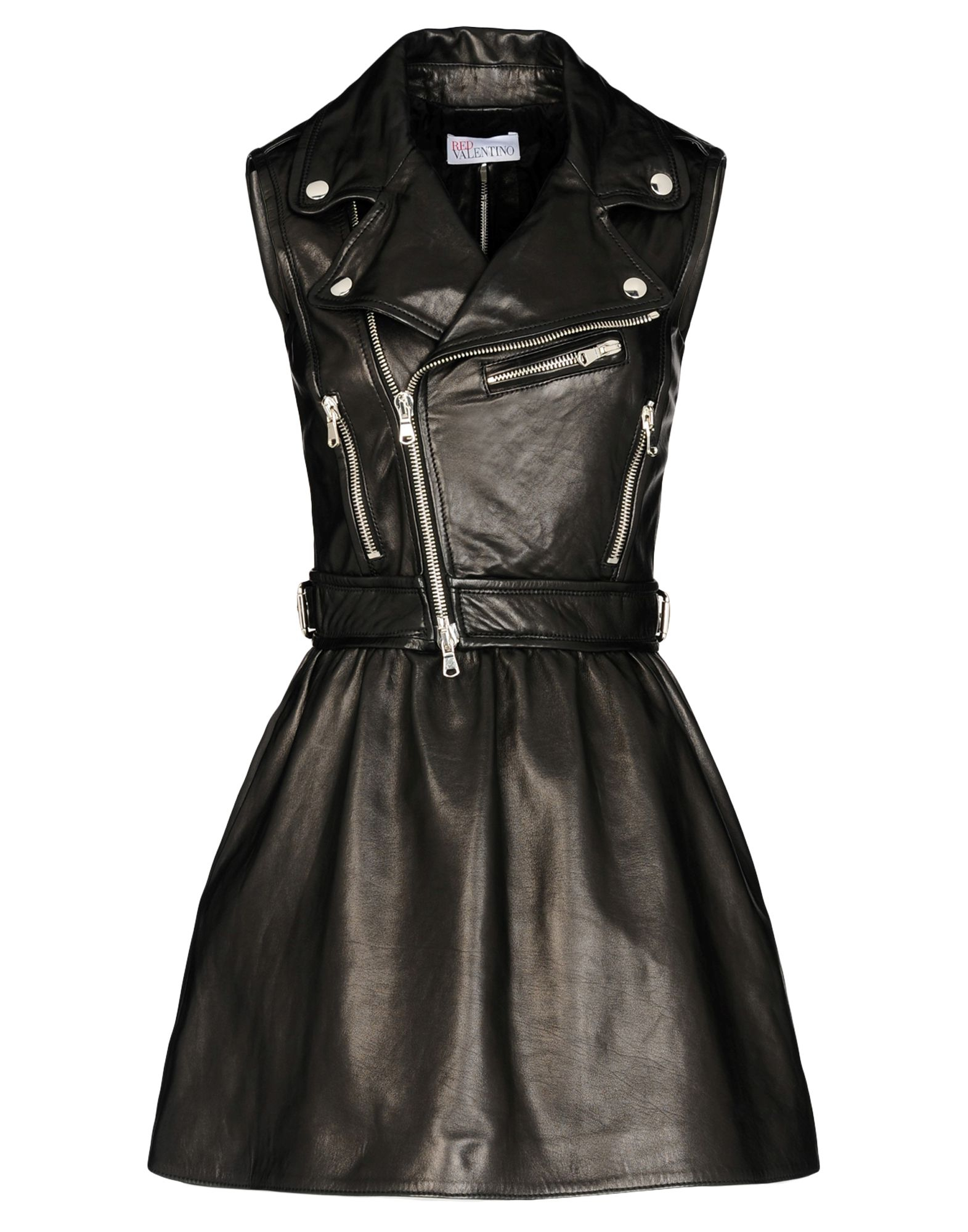 Red valentino Leather Biker Dress in Black