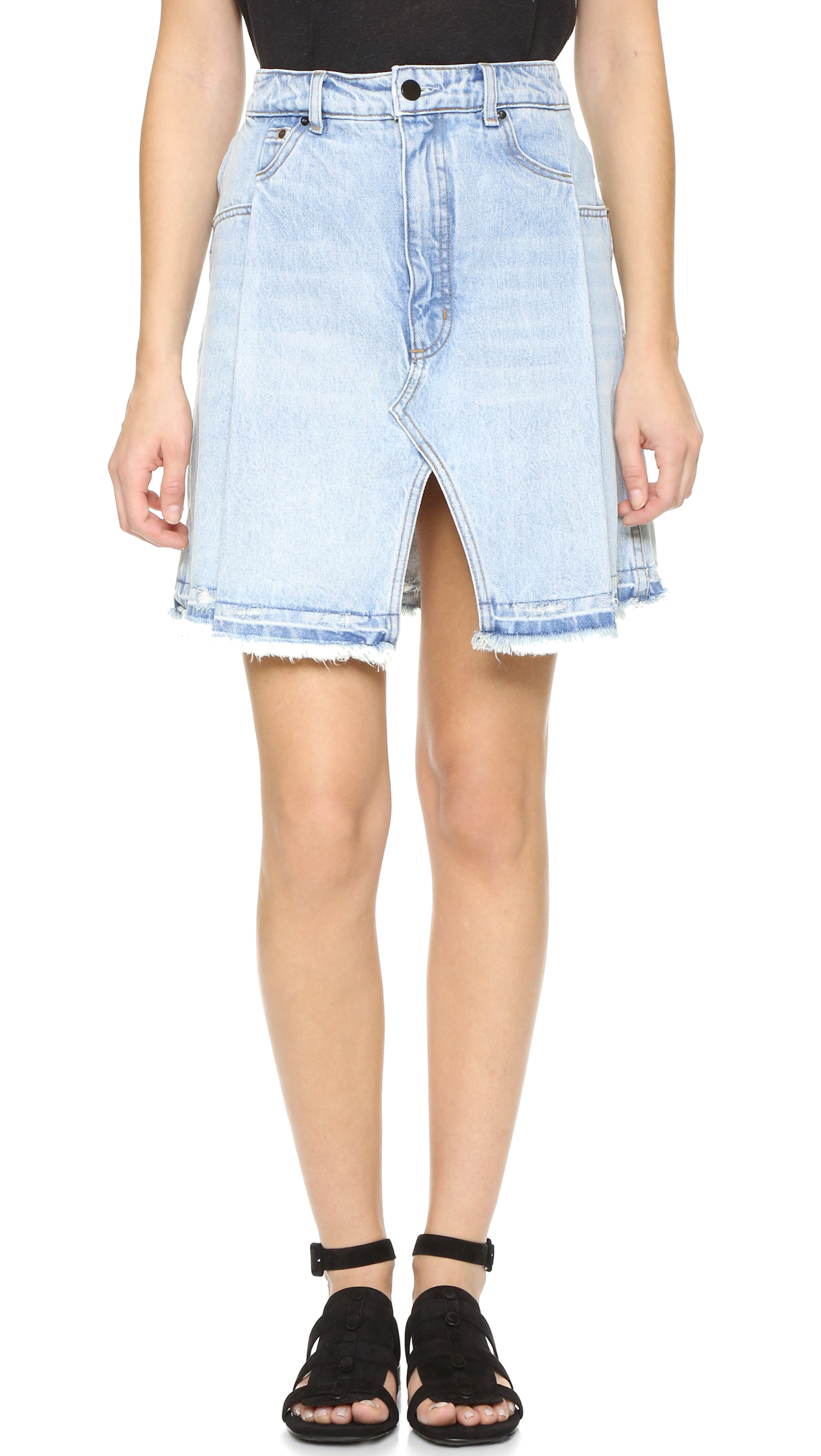 Alexander wang Pleated Miniskirt in Blue | Lyst