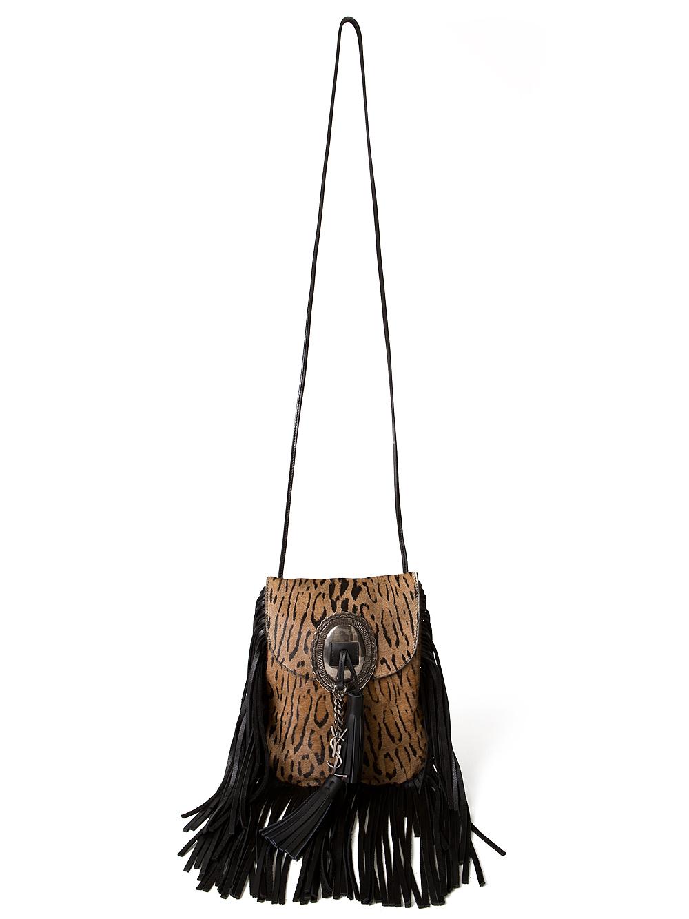 a841b4d59acc Lyst - Saint Laurent Anita Leopard Fringe Bag in Brown