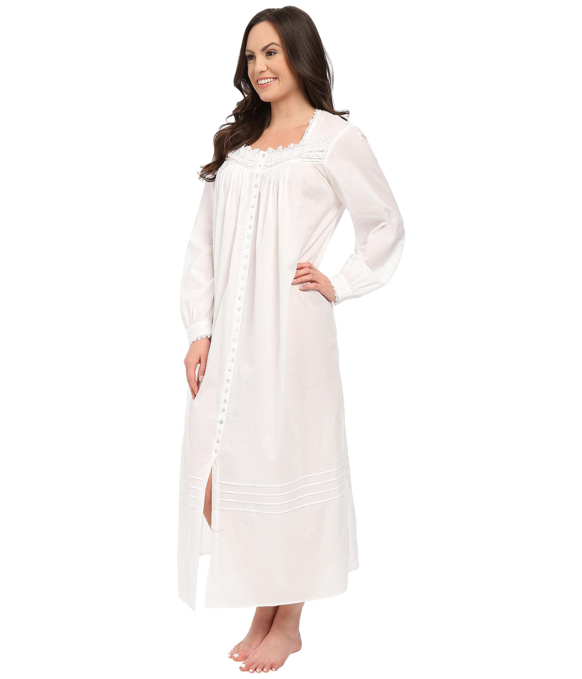 Lyst - Eileen West Ballet Button Front Coat in White 88ffe1c82
