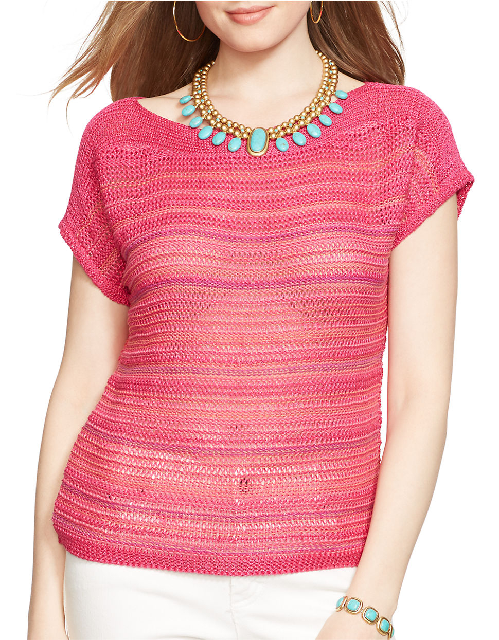 Lauren by ralph lauren Short-sleeved Marled Sweater in Pink | Lyst